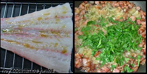 Merluza al horno con bacon